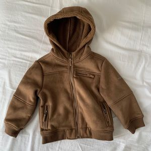 Mayoral Boys Size 4 Tan Suede Hooded Jacket